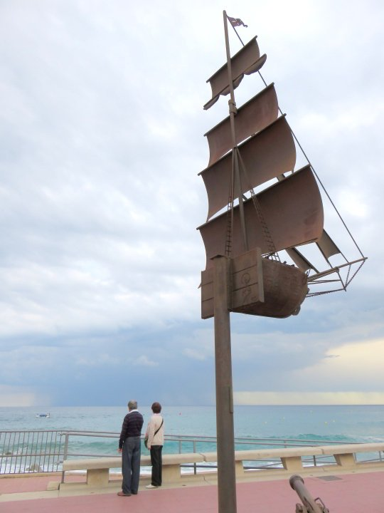 Public art Lloret de Mar Costa Brava - metal sculpture of sailing ship at Lloret de Mar beach
