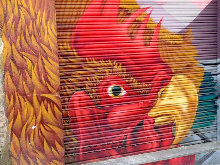 Street art in Lloret de Mar Costa Brava - Rooster mural