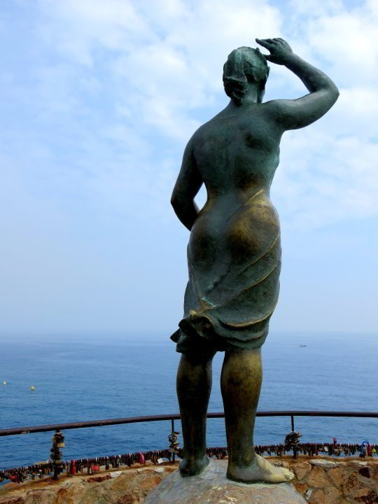 Statue of Dona Marinera - Fisherman's Wife by Ernest Maragall - overlooking the Mediterranean Sea Lloret de Mar Costa Brava Catalonia