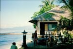 Sitting by the beach, listening to the waves roll in - serene tropical beach town Candidasa in 1993, on the island of Bali Indonesia