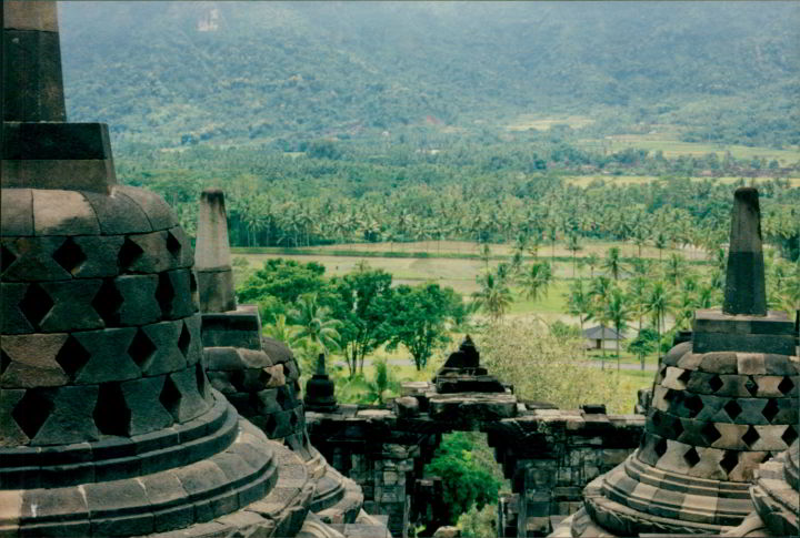 View from Borobudur Buddhist temple - UNESCO World Heritage site - Java Indonesia