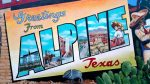Downtown Alpine Texas mural detail Greetings from Alpine Texas by artist Stylle Read