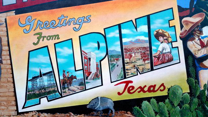 Beginning my nomadic life in west Texas - Downtown Alpine TX mural detail Greetings from Alpine Texas by artist Stylle Read