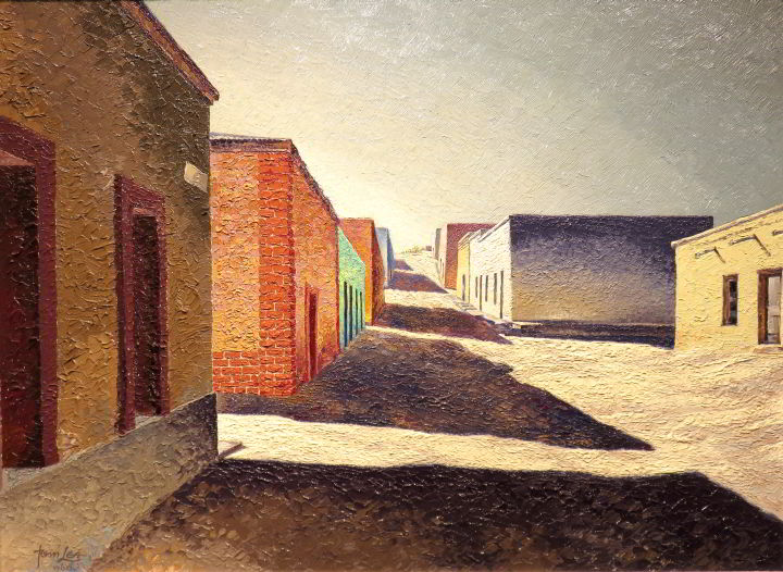 Painting featuring brick houses throwing long shadows onto the dirt - by Tom Lea in 1960