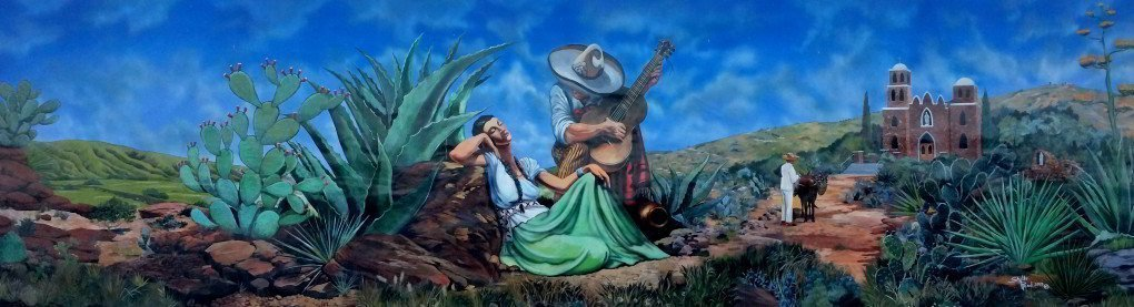Mural based on the painting Poco y Poquito by Jesus Helguera, a man plays guitar next to woman seated next to him