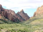 Landscape of Big Bend National Park - a view towards the Window View - a popular hiking trail and sunset viewing spot