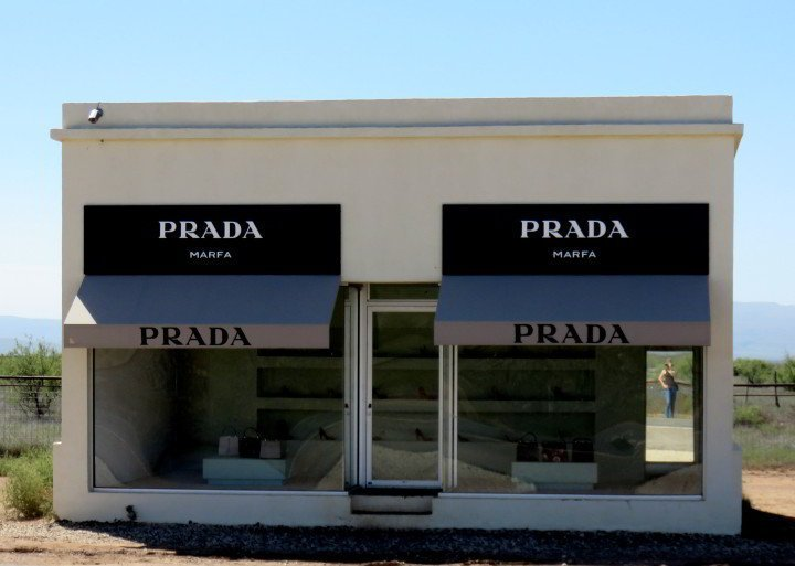 Prada Marfa is an art installation neaar Valentine TX. It is a faux Prada store - complete with shoes and handbags by Prada