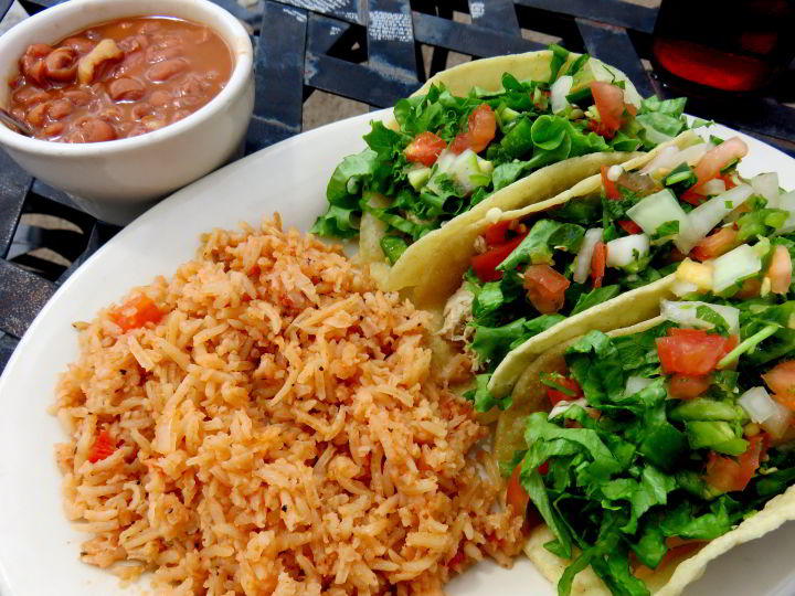 Tacos rice and beans at High Sierra Bar & Grill in Terlingua west Texas