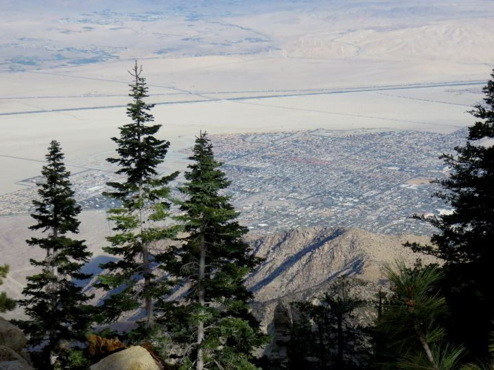 View of Palm Springs from Mt San Jacinto State Park nature hike