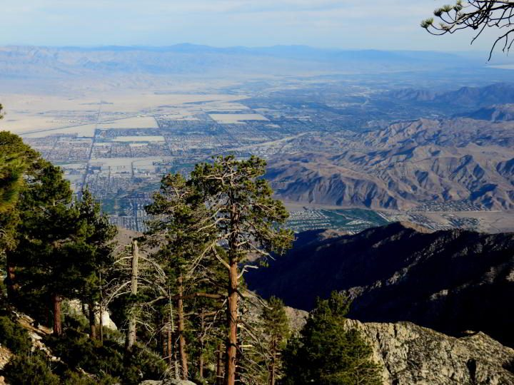 A view of the Indian Canyons from Mt San Jacinto State Park hiking trail - Palm Springs California