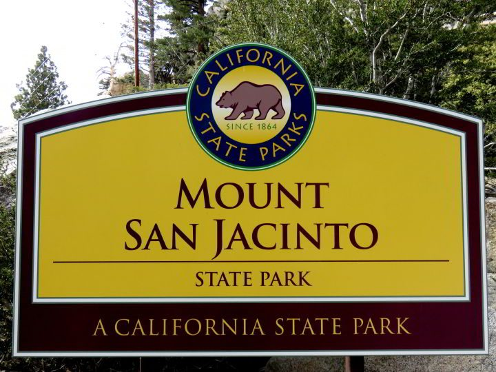 Sign for Mount San Jacinto State Park in Palm Springs - with California State Parks logo
