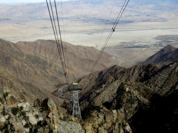 View of Palm Springs from the aerial tramway up Mt San Jacinto