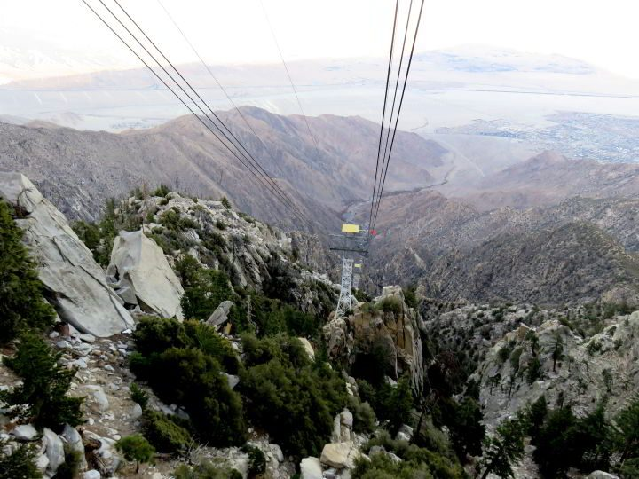 A view from inside the aerial tramway while riding up to Mt San Jacinto State Park