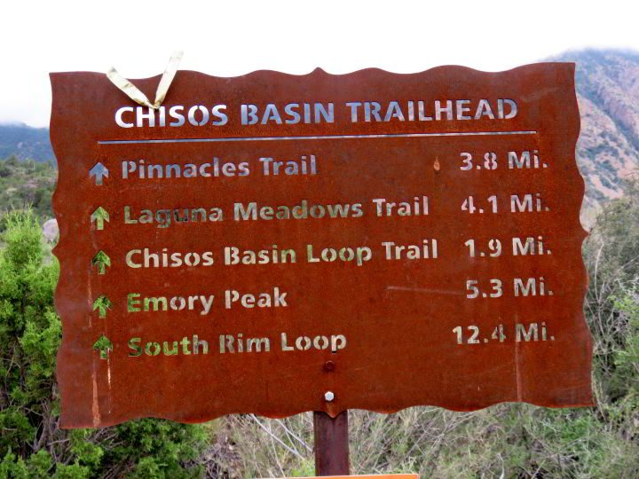 Sign for Chisos Basin Trailhead listing five trails and length of each hike - Big Bend National Park in West Texas