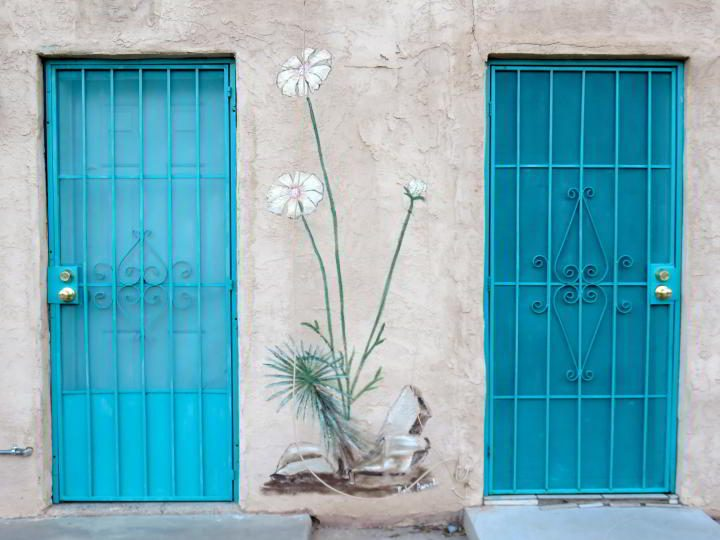 Turquoise doors in Las Cruces New Mexico's Mesquite Historic District