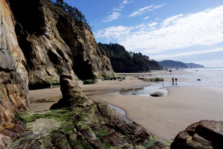 Hug Point beach at low tide on the Oregon coast