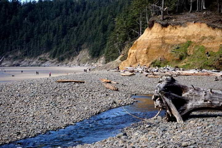 Short Sand Creek flows into the Pacific at Short Sand Beach - northern Oregon Coast