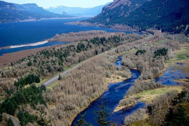 Columbia River Gorge on a beautiful clear spring day in March