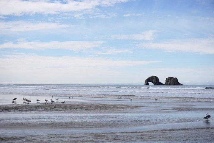 Arch rock along the Pacific coast at Rockaway Beach Oregon