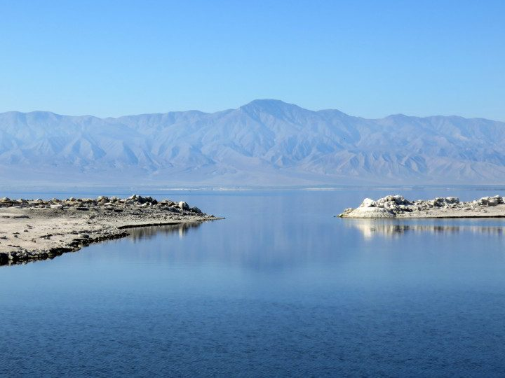 Salton Sea with mountain view - Southern California