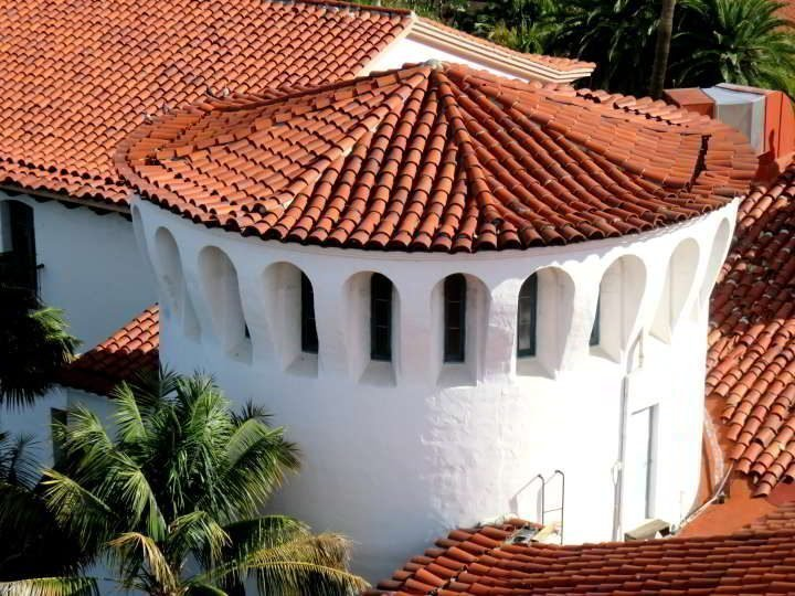 Red tiled rooftops against white walls of the Santa Barbara Courthouse