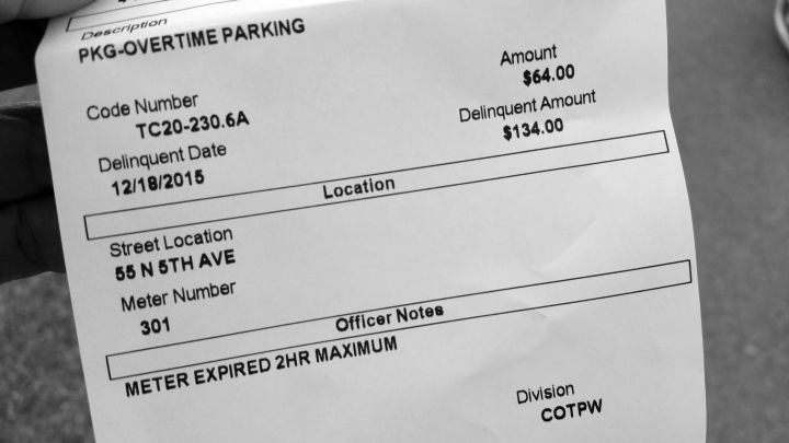 Tucson Arizona $64 parking ticket for expired parking meter