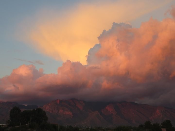 Sunset over the Catalina mountains in Tucson AZ