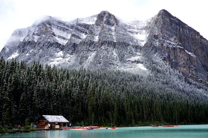 Snow at Lake Louise Alberta Canada - most beautiful places