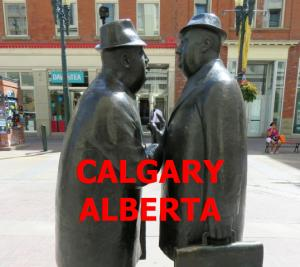 Downtown Calgary on 8th Avenue Mall - sculpture titled The Conversation by William McElcheran