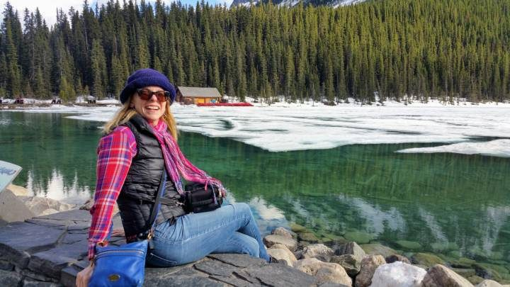 Solo female travel - Susan Moore in Lake Louise AB Canada