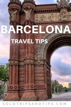 Barcelona Travel Tips - view of sunrise at Arc de Triomf - triumphal arch at Park Ciutadella Barcelona