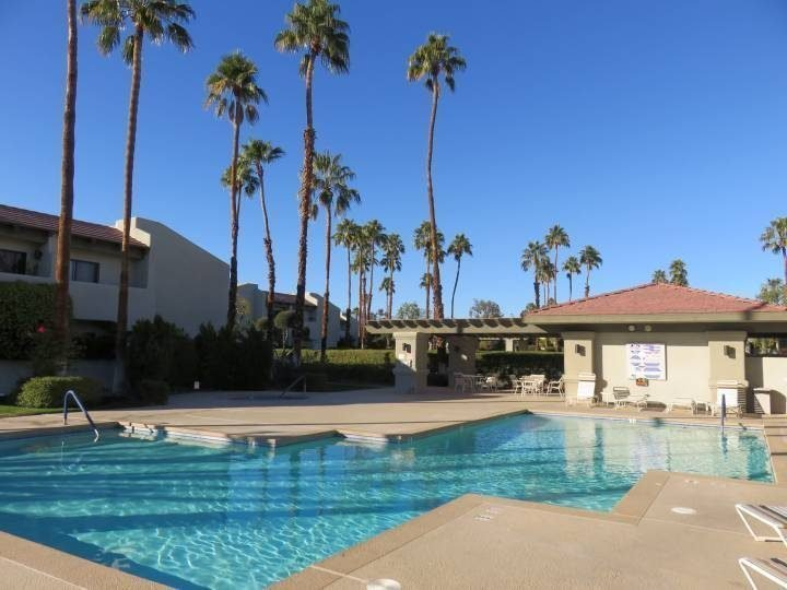 Winter in Palm Springs includes palm tree views from the heated swimming pool