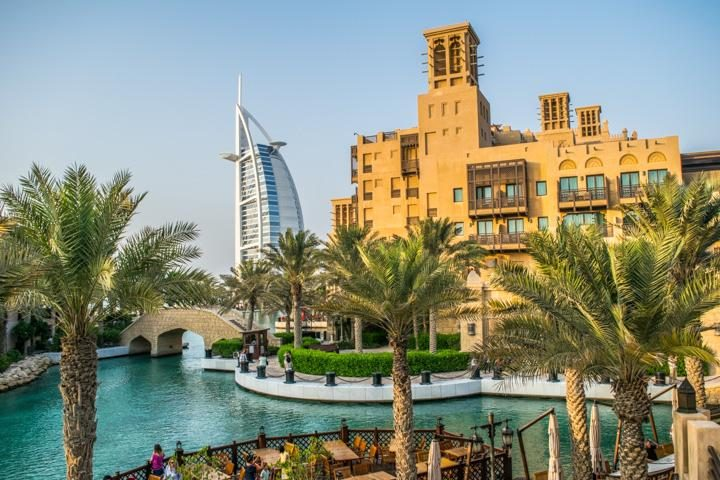 View of Burj al Arab Jumeirah hotel from Madinat Jumeirah area of Dubai
