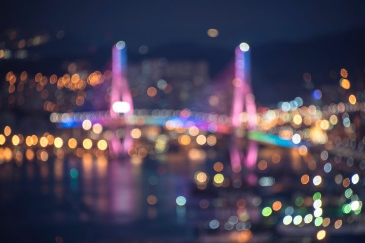 Sparkling lights of Busan nightscape view