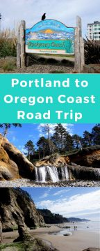 Oregon coastal views of Rockaway Beach, waterfalls at Hug Point Beach, and lowtide beachview