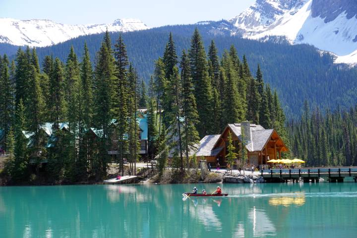 Emerald Lake Lodge and jewel-like Emerald Lake at Yoho National Park in BC Canada