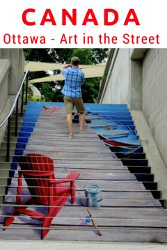Fishing pole and red chair painted onto stairs in downtown Ottawa Canada