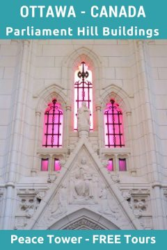 Pink stained glass windows of Memorial Chamber at Peace Tower of Parliament buildings in Ottawa Ontario Canada - free tours available