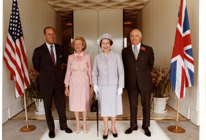 Prince Philip, Lee Annenberg, Queen Elizabeth, and Walter Annenberg, 1983 - photo credit: The Annenberg Foundation Trust at Sunnylands