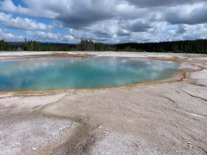 Visit Yellowstone to see turquoise water at hot springs