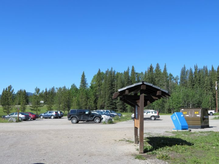 Parking lot at Fullerton Loop trailhead in Kananaskis Alberta
