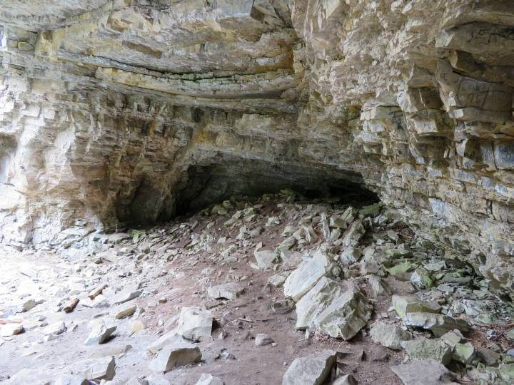 This cave can't be seen from the regular trail at Johnston Canyon