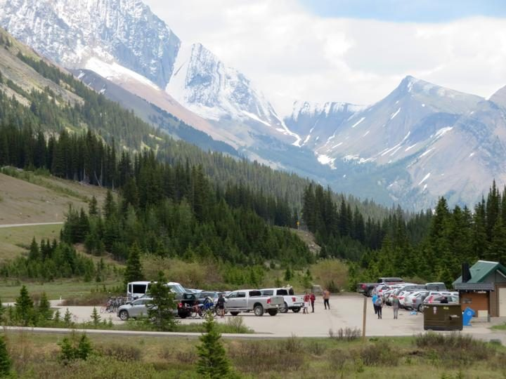 Parking lot for Ptarmigan Cirque and Highwood Meadows hiking trails in Kananaskis AB