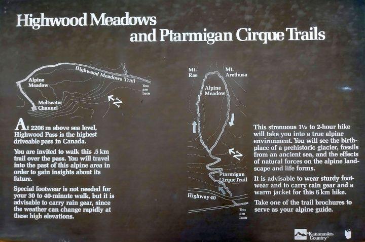 Trail map for Highwood Meadows and Ptarmigan Cirque Trail at Kananaskis Alberta Canada