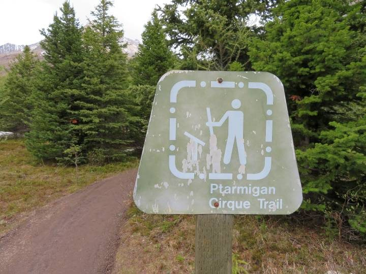 Ptarmigan Cirque hiking trailhead marker in Kananaskis Country Alberta