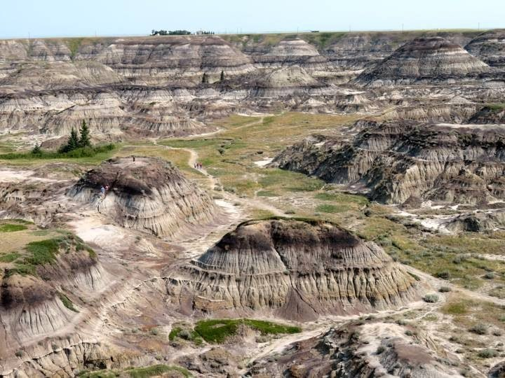 Horseshoe Canyon offers dramatic views and hiking trails in the Canadian Badlands of Drumheller Alberta