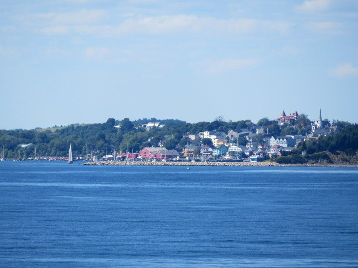 Seaside view of Lunenburg from across the Lunenburg Bay