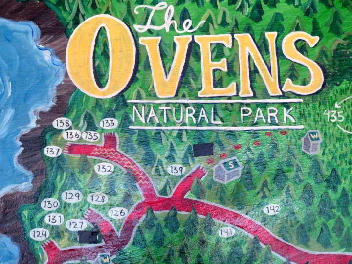 The Ovens Natural Park sign and map of campground