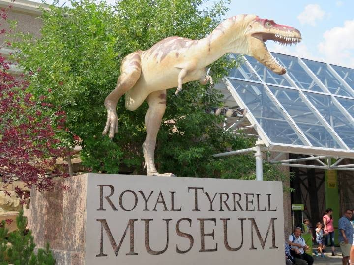 T-Rex dinosaur welcomes visitors to Royal Tyrrell Museum in Drumheller Badlands of Alberta Canada