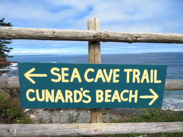 Sea Cave Trail and Cunard's Beach signage at Ovens Natural Park Nova Scotia